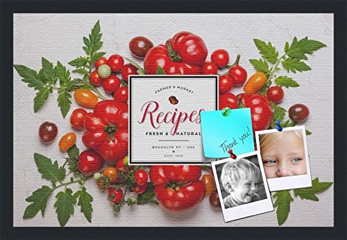 PinPix decorative pin cork bulletin board made from canvas, Recipe Board with Farmers Tomatoes 24x16 Inches (Completed Size) and framed in Satin Black (PinPix-Group-36) by PinPix