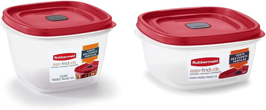 Rubbermaid Easy Find Lids 7-Cup Food Storage and Organization Container, Racer Red & Easy Find Lids 5-Cup Food Storage and Organization Container, Racer Red