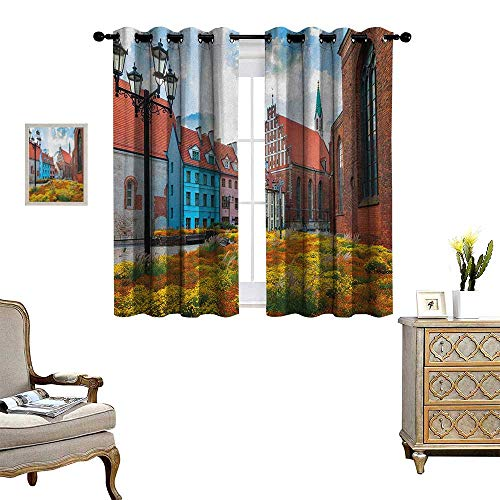 (Warm Family Victorian Room Darkening Wide Curtains Old City Riga Latvia Capital with Historical Buildings Medieval Town Image Print Customized Curtains W55 x L63 Multicolor)