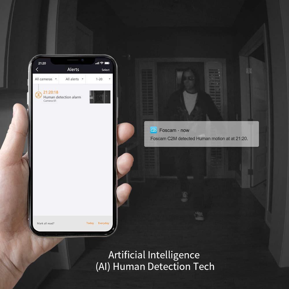 Foscam R2M 2MP Cámara IP WiFi, Seguridad, 8h Grabación Gratis en la Nube, AI Detección Humana, Visión Nocturna, Compatible con Alexa, (P2P, 1080p, ...