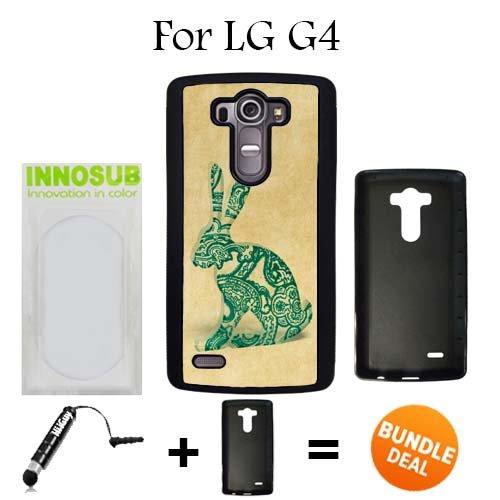 LG G4 Case, Vintage Paisley Glass Bunny Black Rubber Case, Premium Bundle 2in1 Comes With Universal Stylus Pen by - Glasses Ebay Vintage