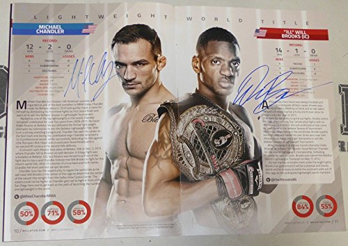 Stephan Bonnar Will Brooks King Mo Michael Chandler Signed Bellator 131 Program - Autographed Boxing Photos
