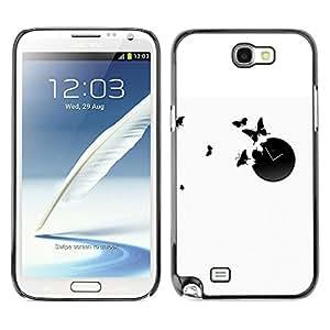 Tiempo De Mariposas - Metal de aluminio y de plástico duro Caja del teléfono - Negro - Samsung Note 2 N7100