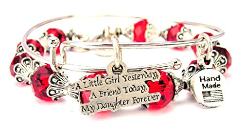 A Little Girl Yesterday A Friend Today My Daughter Forever Collection Crystal Bangle Set in Crimson Red