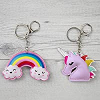 Hugo & Emmy Unicorn Rainbow Keychains and Keyrings, 8 Pack - Bulk Unicorn Party Favors, Supplies, Prizes, Accessories for Girls and Kids Birthday Parties - Includes 4 Unicorns & 4 Rainbows