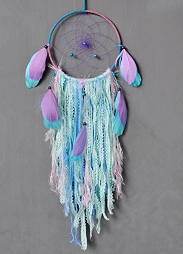 Szezon Dream Catcher Boho  with White Cotton  and Green ribbon