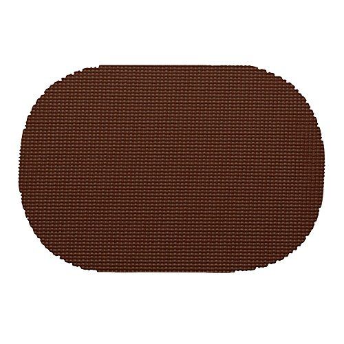 12 Piece Chocolate Placemats,(Set of 12), Machine Washable, Solid Pattern, Oval Shape, Contemporary And Traditional Style, Perfect For Everyday Entertaining, Season Or Holiday Lace Material, Coffee by PATRIOT HOME