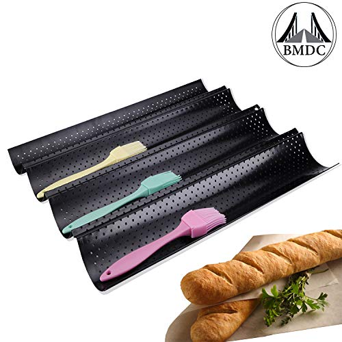 French Bread Baking Pan Nonstick Perforated Baguette Pan 4Loaves Loaf Bake Mold Toast Cooking Bakers Molding