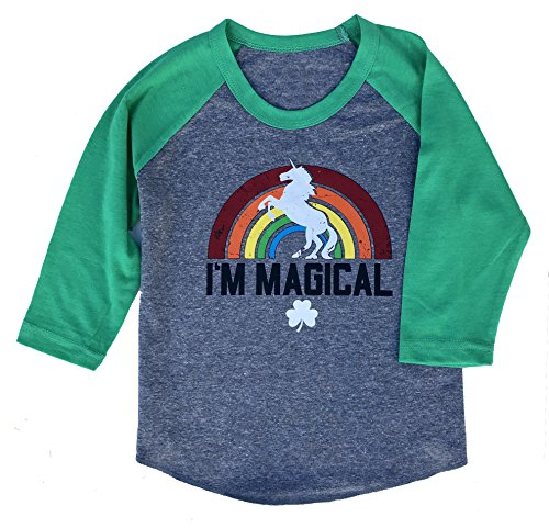 SoRock Youth Kids ST. Patricks Day Magical Unicorn Shamrock 3/4 Sleeve Raglan T-Shirt