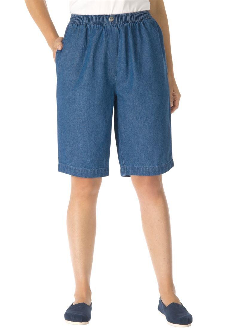 Women's Plus Size Mock Fly Cotton Jean Short Medium Stonewash,14 W