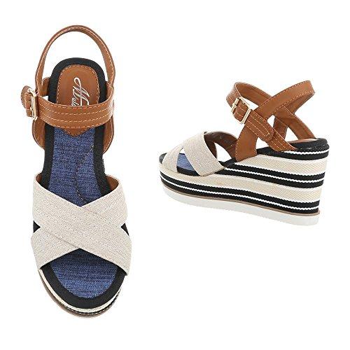 Ital-Design Zapatos Para Mujer Sandalias de Vestir Plano Sandalias con Plataforma beige Multi D-38