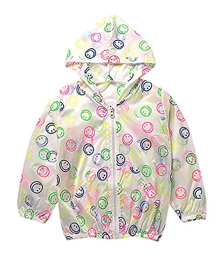 Price comparison product image BPrincess Kids Eclectic Prints & Colors Zip Up Lightweight Hooded Windbreakers, Smile 7T
