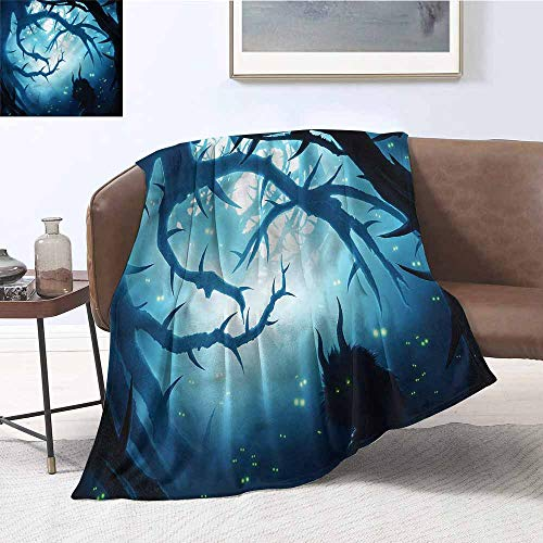 DILITECK Blanket Sheets Mystic Night Forest Halloween Lightweight Super Soft Comfort W60 xL80 Traveling,Hiking,Camping,Full Queen,TV,Cabin -