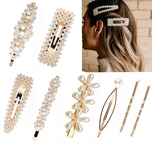 Pearl Hair Clips, 8PCS Vintage Pearl Hairpins for Women, Artificial Pearl Hair Clips Bridesmaid, Geometric Bobby Pin Accessories Large Pearl Jewelry Hair Clip Barrette Set for Girls Brides Wedding