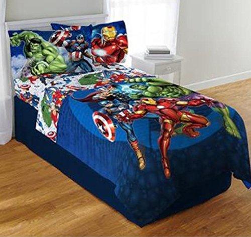 Marvel Avengers Blue Circle Twin/Full Comforter & Full Sheet Set (Circle Bed Sheets)