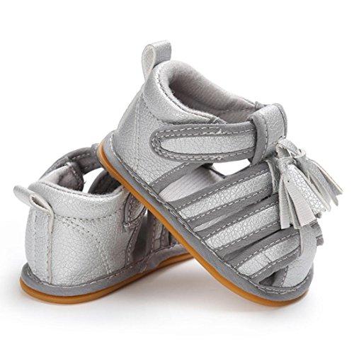 zapatos bebe niña verano Switchali Recién nacido nina primeros pasos zapatos bebe con suela borla princesa Zapatos moda Al aire libre sandalias de niña fiesta baratos Plata