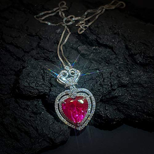 full 925 Sterling Silver Large Red Heart Royal Crown July Birthstone Ruby Pendant Fuchsia Red Ruby Heart Necklace