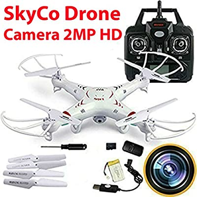 SkyCo RC Quadcopter with 2MP Video Camera,4 Ch 2.4ghz 6-gyro, Remote Control Drone Equipted with Headless System Drones Quadcopters by Skytech