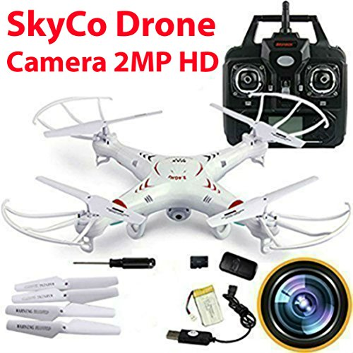 SkyCo RC Quadcopter with 2MP Video Camera,4 Ch 2.4ghz 6-gyro, Remote Control Drone Equipted with Headless System Drones Quadcopters