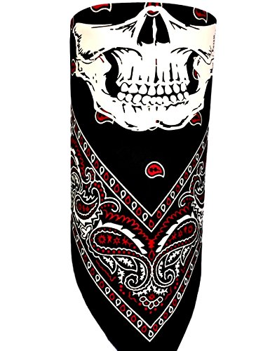 Black Red Paisley Adjustable Close Bandanna Mask Face