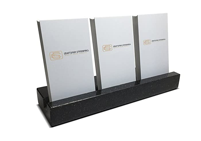 multiple vertical business card holder made from black absolute granite holds 3 sets of vertical - Vertical Business Card Holder