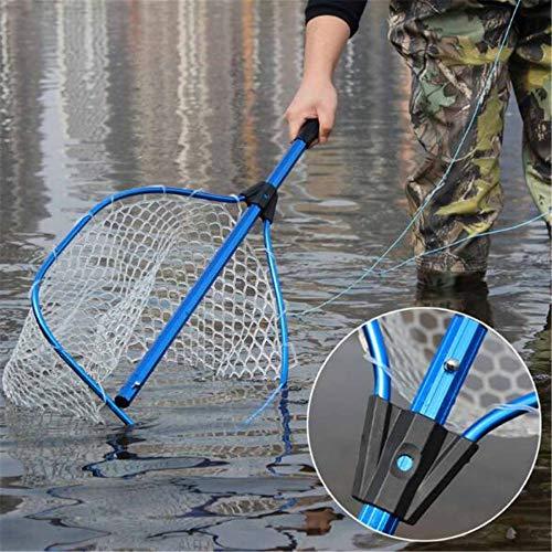 ZHOUMOYW 45cm Portable Telescopic Fly Fishing Net Handle Landing Mesh Tackle Catcher Release Scoop Rubber Hexagonal Coarse Mesh Net