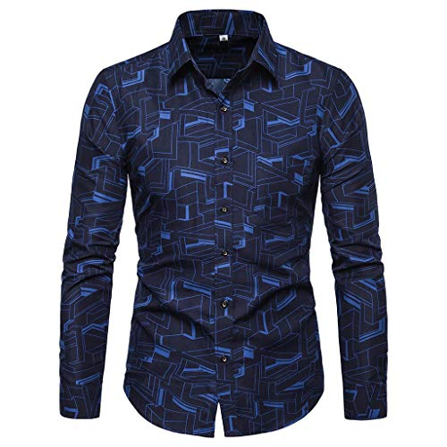 (Men's Formal Casual Long Sleeve Blouse ,Stretch Solid Button-Down Work Shirt with Pocket (Blue, XXL))