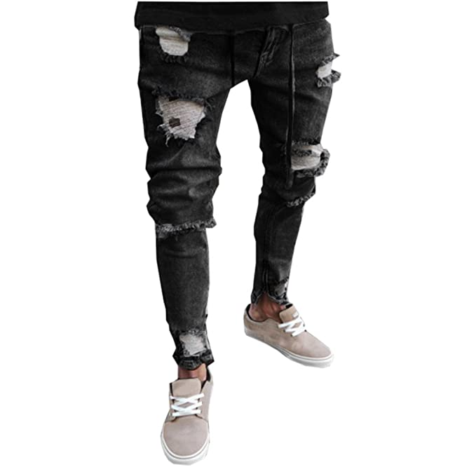 60% cheap new list buying now Allywit Men Jeans Skinny, Men's Slim Fit Black Stretch ...