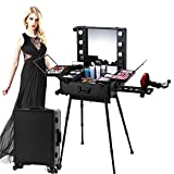 House of Quirk Pro Studio Aluminum Professional Makeup Artist Organizer Trolley Cosmetic Train Case Table with Lights (Black)