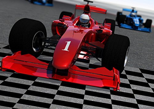 JP London MDXL4124PS uStrip Peel and Stick F1 Formula One Grand Prix Racetrack Removable Full Wall Mural, 12' x 8.5', Red ()