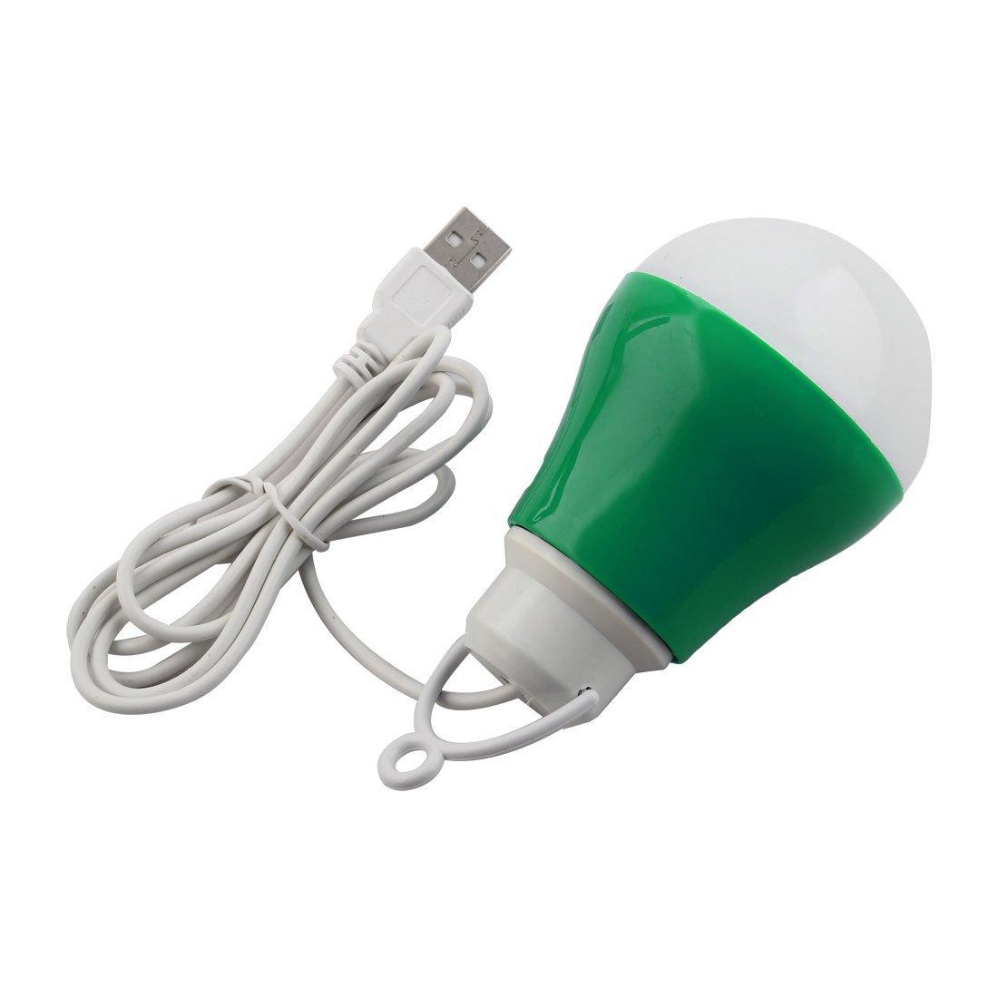 eDealMax DC3-12V 5w luz de la noche lámpara que acampa Aparición del bulbo cable USB de alimentación 2 Pcs verde - - Amazon.com