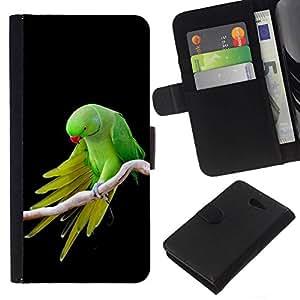All Phone Most Case / Oferta Especial Cáscara Funda de cuero Monedero Cubierta de proteccion Caso / Wallet Case for Sony Xperia M2 // verdes alas loro plumas negro tropical