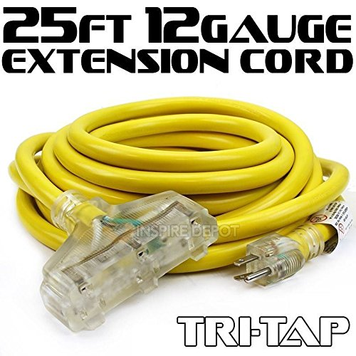 - XtremepowerUS 25FT 12 Gauge Extension Power Electricity Cord Copper Wire UL approval 125V, 15Amp Current Cable W/Clear TRI-TAP Plug