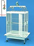 2 Color, New Large Double Ladder PlayTop Bird Cage Parrot Finch Macaw Cockatoo Bird Wrought Iron Cage With Toy Hook (WhiteVein)