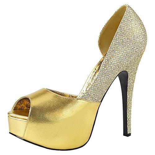 Heels-Perfect Peep Toe Pump, Damenpumps, Übergrößen 42-47, Gold (Gold) Gold (Gold)