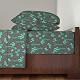 Roostery Cactus 3pc Sheet Set Cactus//Charcoal Cactus Cacti Southwest Desert by Andrea Lauren Twin Sheet Set made with