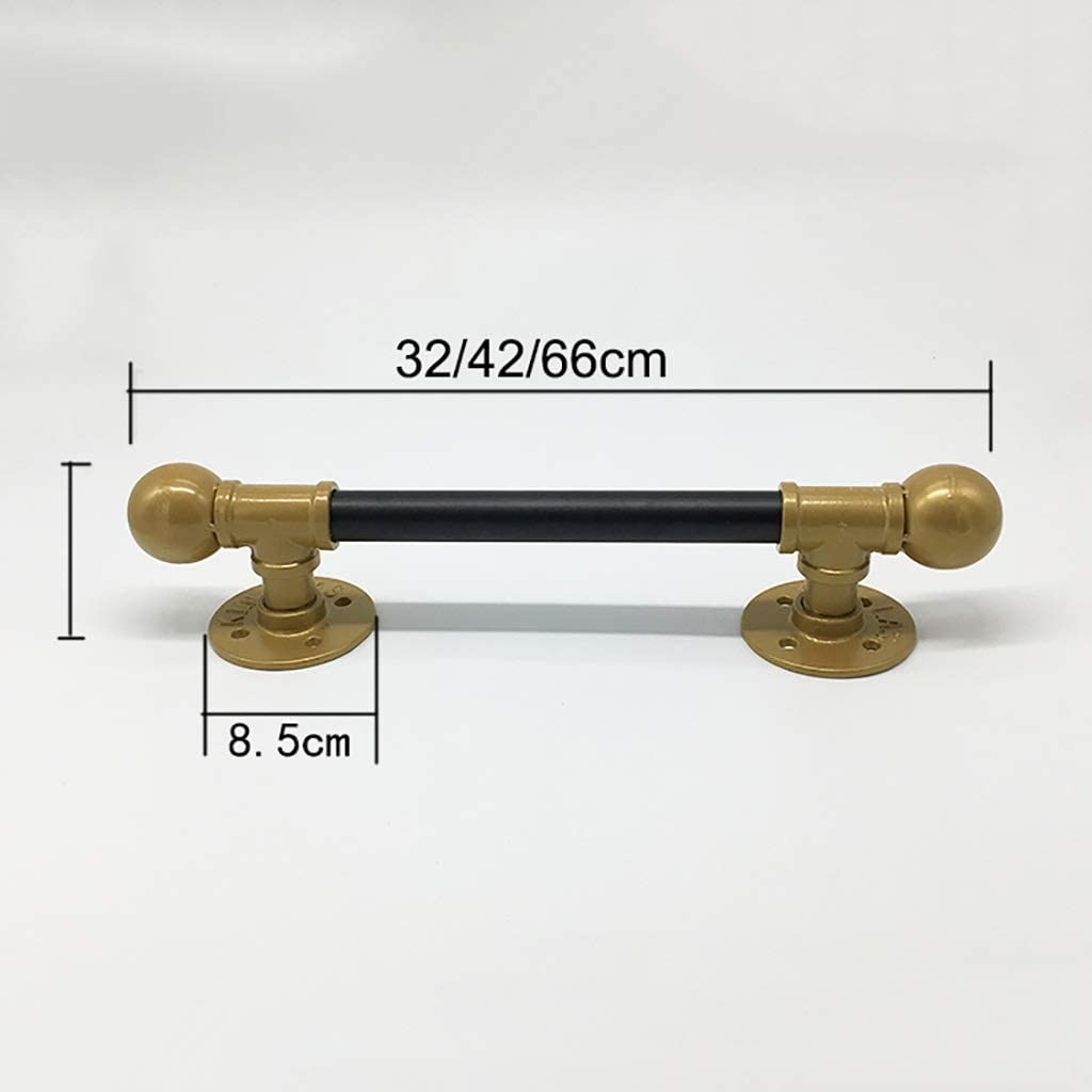 JF-Handrails LOFT Industrial Style Sturdy Iron Barn Door Handle Closet Wooden Door Push-Pull Hardware Handle 2 Colors, 3 Sizes Color : Gold, Size : 42cm