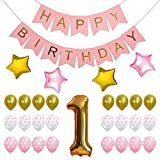 Seven YJ. First Birthday Decorations Kit - Pastel and Gold Foiled Happy ...