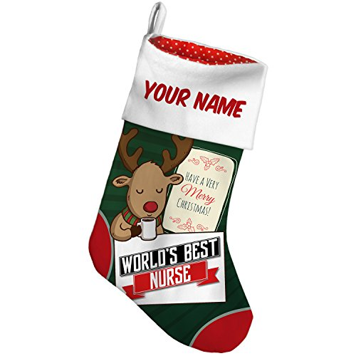 Christmas Stocking Worlds Best Nurse Deer with Green NEONBLOND