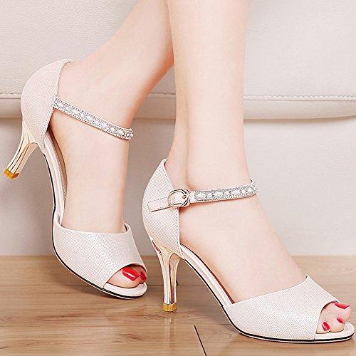 Moda Mujer verano sandalias confortables tacones altos,37 blanco Beige