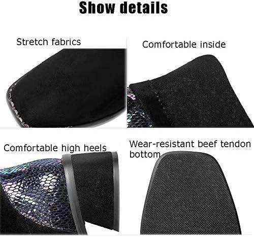 LQLD Femmes Plus Les Bottes, Bloc-Talon Pieds Carrés Bottes Stretch, des Bottes en Cuir Daim Coutures, Bretelles Dos avec Pompons, Taille