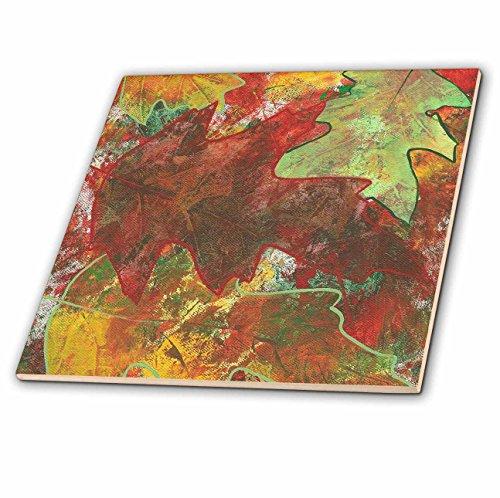 Oak Leaf Tile (3dRose ct_12686_1 Oak Leaves Abstract Ceramic Tile, 4-Inch)