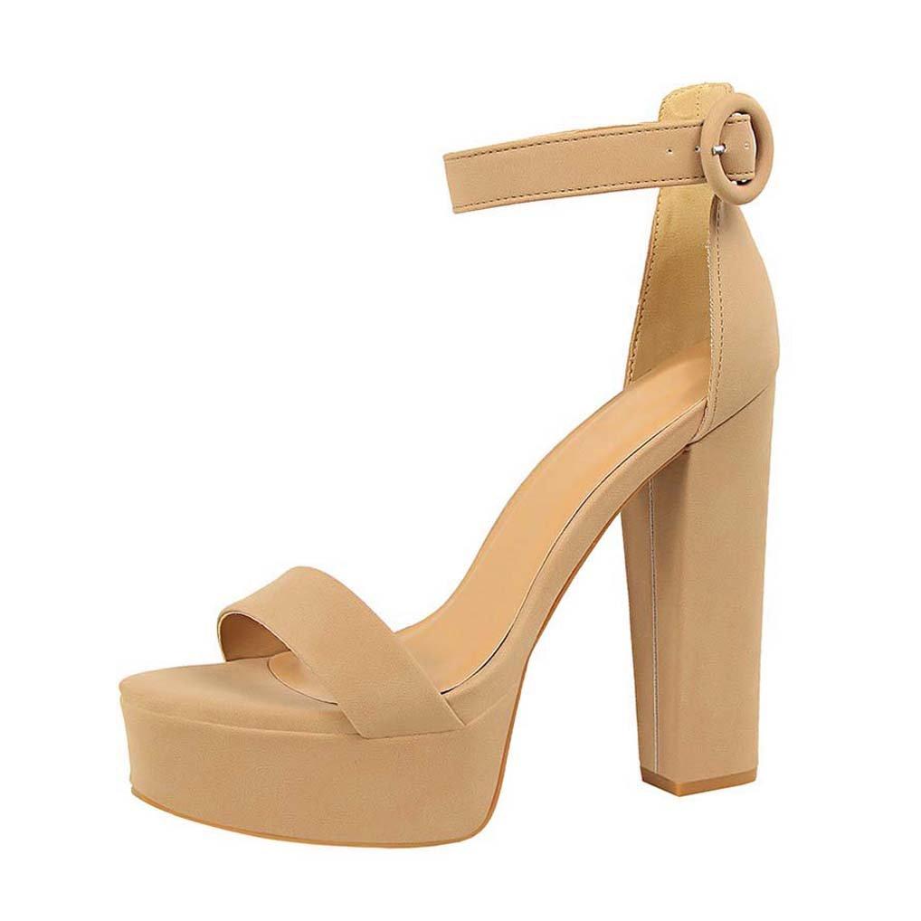OALEEN Sandales Femme Ouverte beige Femme Chaussures Bride Cheville Talon Haut Bloc Chaussures Soirée Plateforme Kaki beige bb50729 - therethere.space