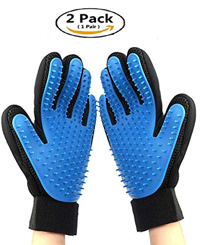 ZYZ Pet Grooming Glove – Pet Hair Remover Mitt – Deshedding Bathing Massage Gloves for Cats & Dogs with Long & Short Fur…