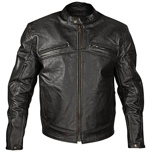Xelement XSPR105 The Racer Mens Black Armored Leather Racing Jacket - Large (Xelement Motorcycle Jacket)