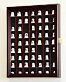 59-Opening Thimble Small Miniature Display Case Cabinet Rack Holder -Cherry Finish