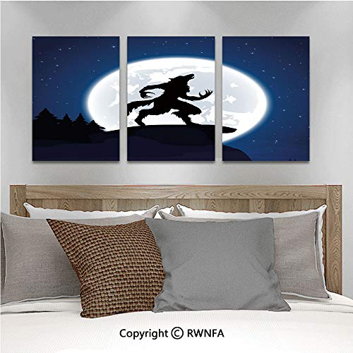 3Pc Creative Wall Stickers Full Moon Night Sky Growling Werewolf Mythical Creature in Woods Halloween Bedroom Kids Room Nursery Dinning Wall Decals Removable Art Murals,19.7