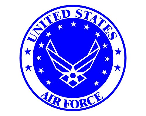 Morale Tags Air Force Seal USAF Emblem Logo Military 5 Vinyl Decal Sticker for Cars Trucks Laptops etc.3.22x5 (Red White & Blue) (Full Color)