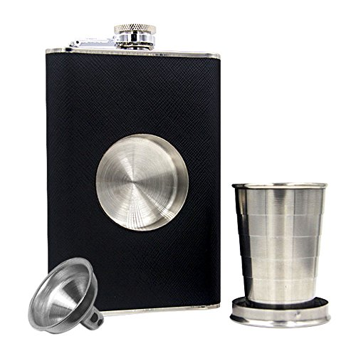JUJOR Shot Flask 8 oz., Built-in Collapsible 2 oz. Shot Glass & Funnel Set (Plastic Cups With Shot Glass Built In)