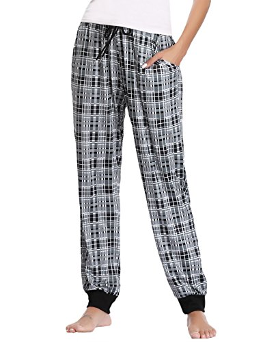 Hawiton Women's Stretch Milk Silk Sleep Lounge Bottoms Plaid Ribbed Drawstring PJ Pants Black